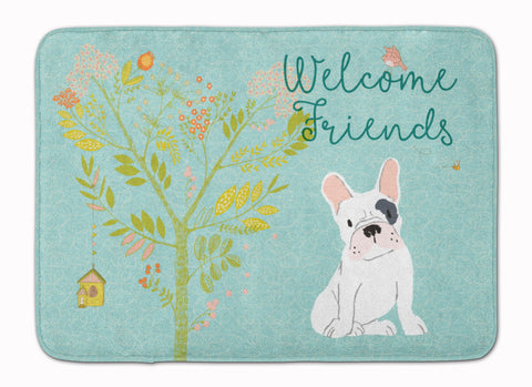 Buy this Welcome Friends Piebald French Bulldog Machine Washable Memory Foam Mat BB7634RUG