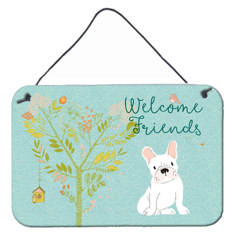 Buy this Welcome Friends White French Bulldog Wall or Door Hanging Prints BB7635DS812