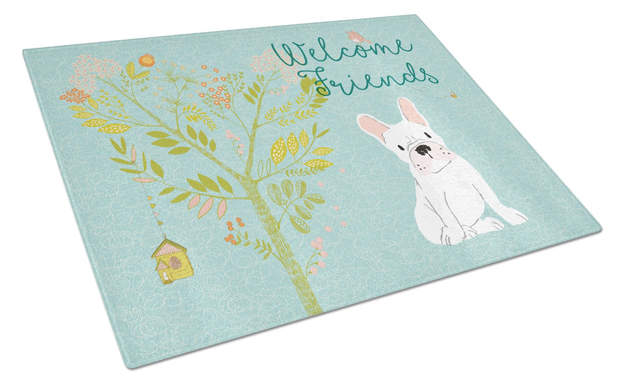 Buy this Welcome Friends White French Bulldog Glass Cutting Board Large BB7635LCB