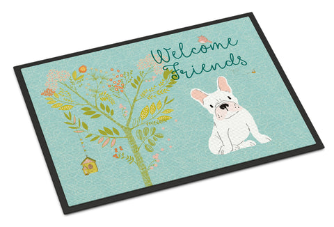 Buy this Welcome Friends White French Bulldog Indoor or Outdoor Mat 18x27 BB7635MAT