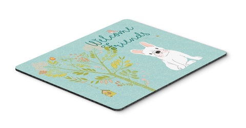 Buy this Welcome Friends White French Bulldog Mouse Pad, Hot Pad or Trivet BB7635MP