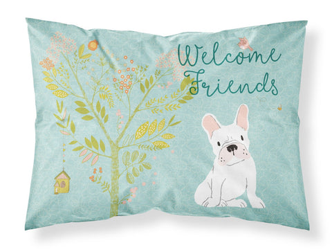 Buy this Welcome Friends White French Bulldog Fabric Standard Pillowcase BB7635PILLOWCASE