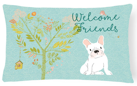 Buy this Welcome Friends White French Bulldog Canvas Fabric Decorative Pillow BB7635PW1216