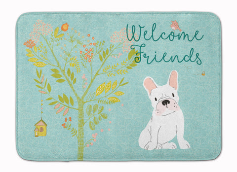 Buy this Welcome Friends White French Bulldog Machine Washable Memory Foam Mat BB7635RUG