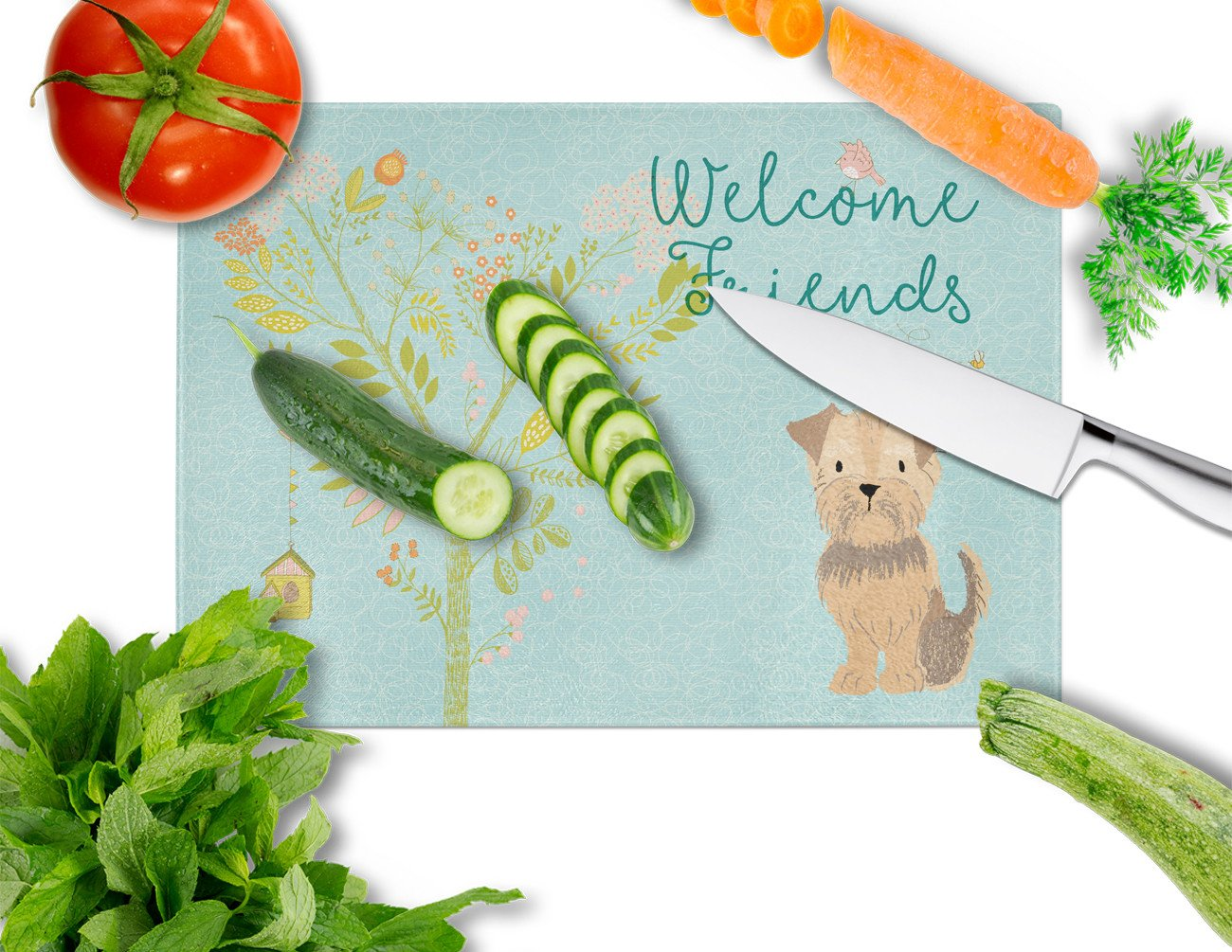 Welcome Friends Yorkie Natural Ears Glass Cutting Board Large BB7642LCB by Caroline's Treasures