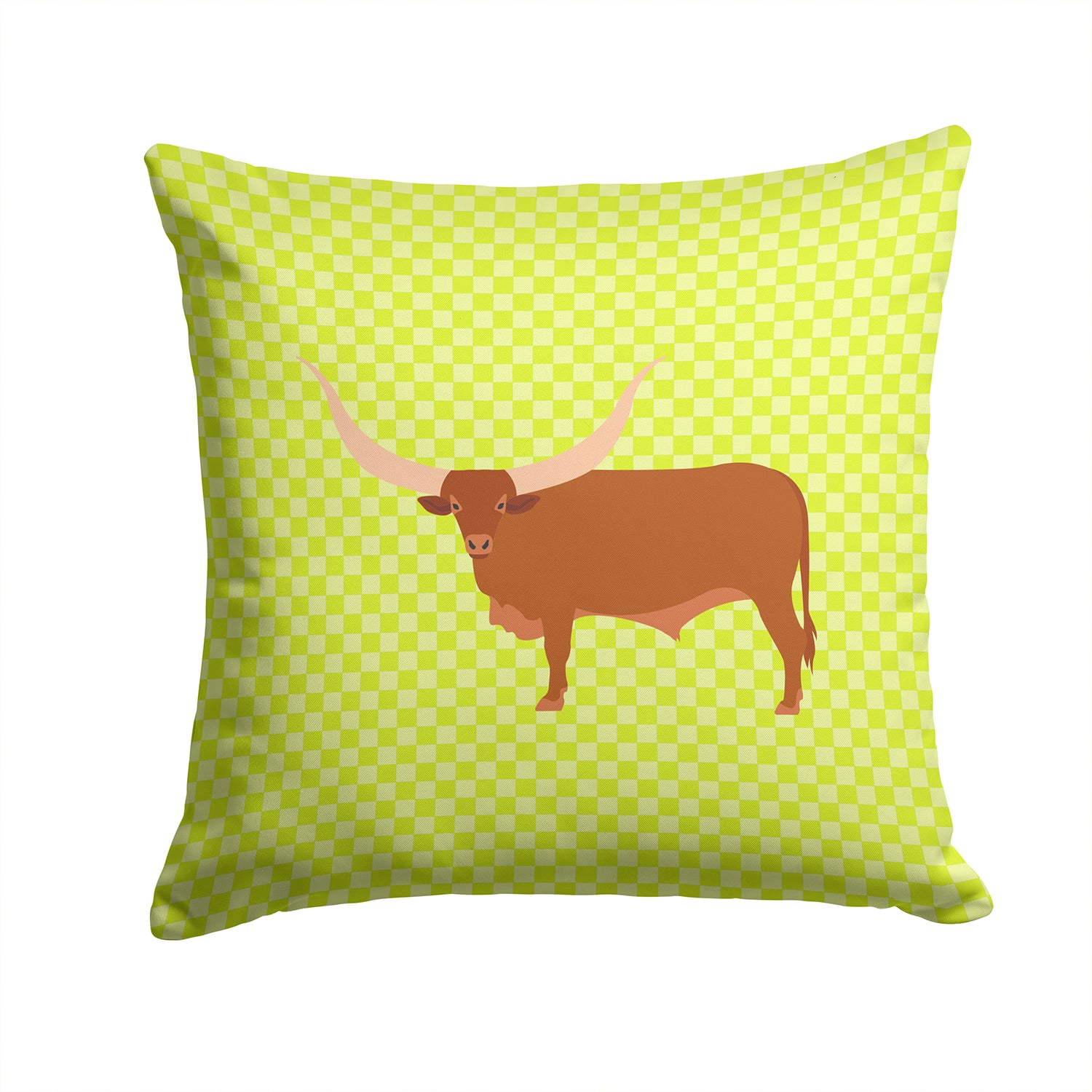 Ankole-Watusu Cow Green Fabric Decorative Pillow BB7649PW1414 by Caroline's Treasures