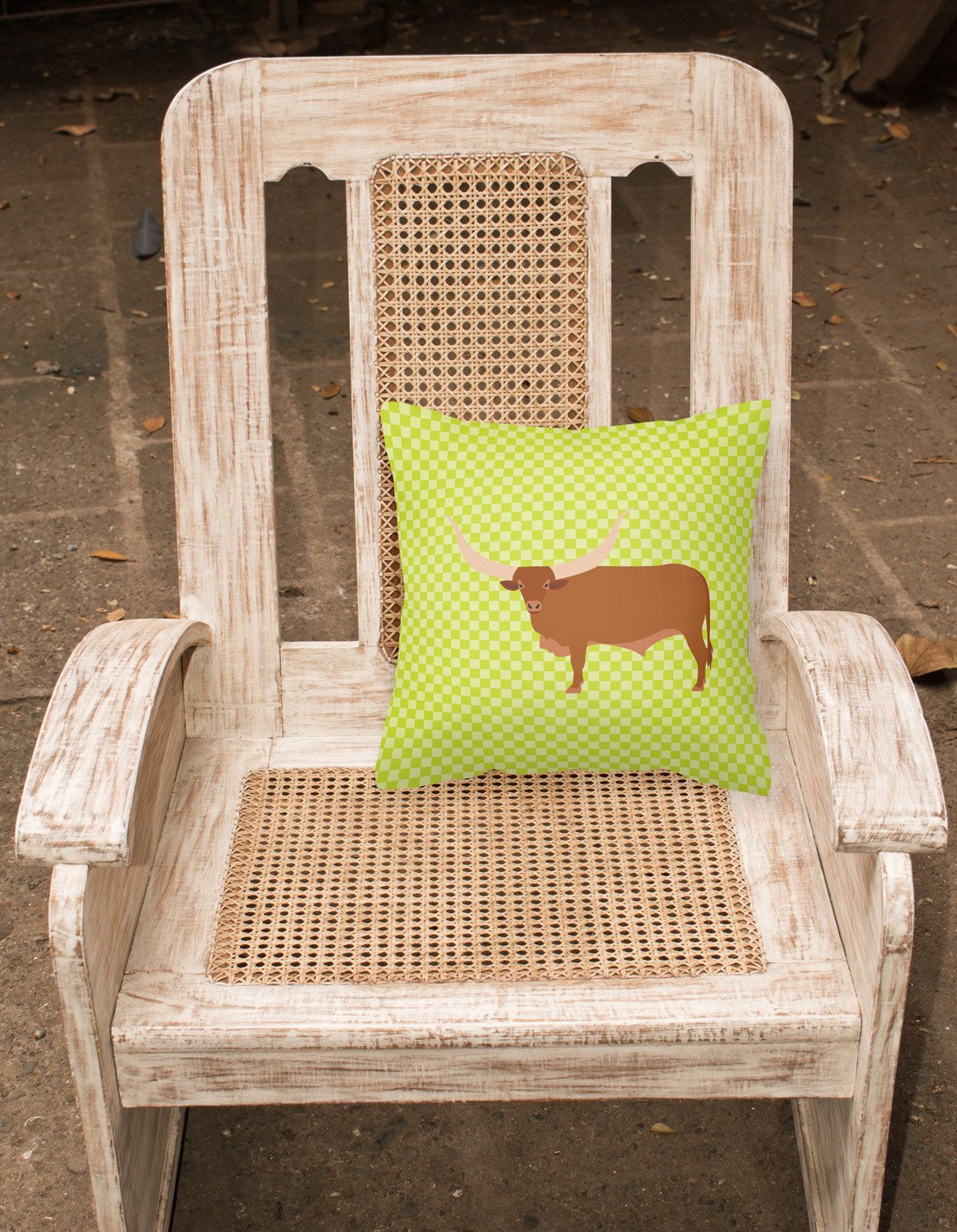 Ankole-Watusu Cow Green Fabric Decorative Pillow BB7649PW1818 by Caroline's Treasures