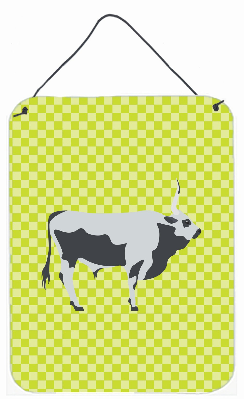 Hungarian Grey Steppe Cow Green Wall or Door Hanging Prints BB7650DS1216 by Caroline's Treasures