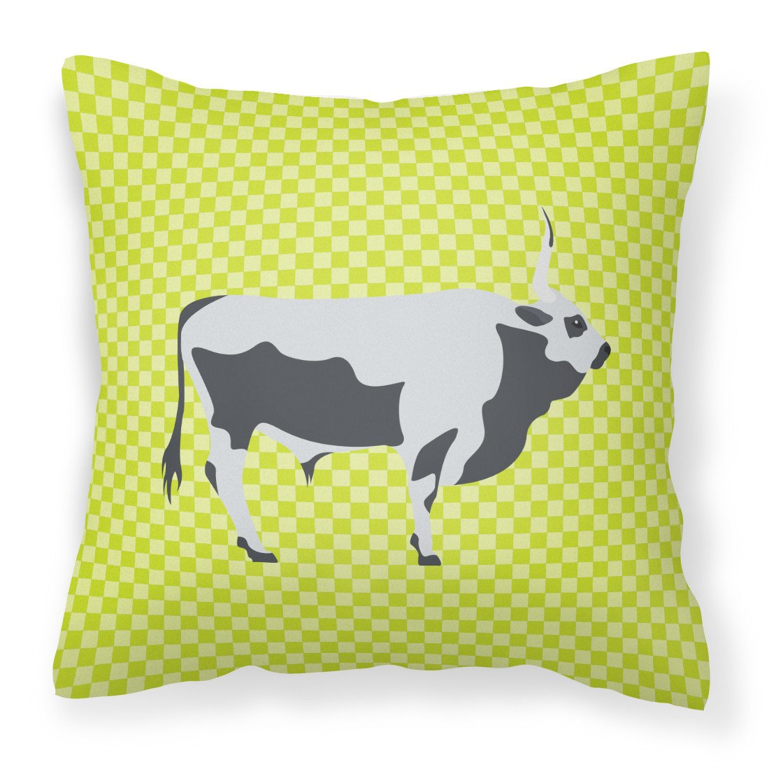 Hungarian Grey Steppe Cow Green Fabric Decorative Pillow BB7650PW1818 by Caroline's Treasures