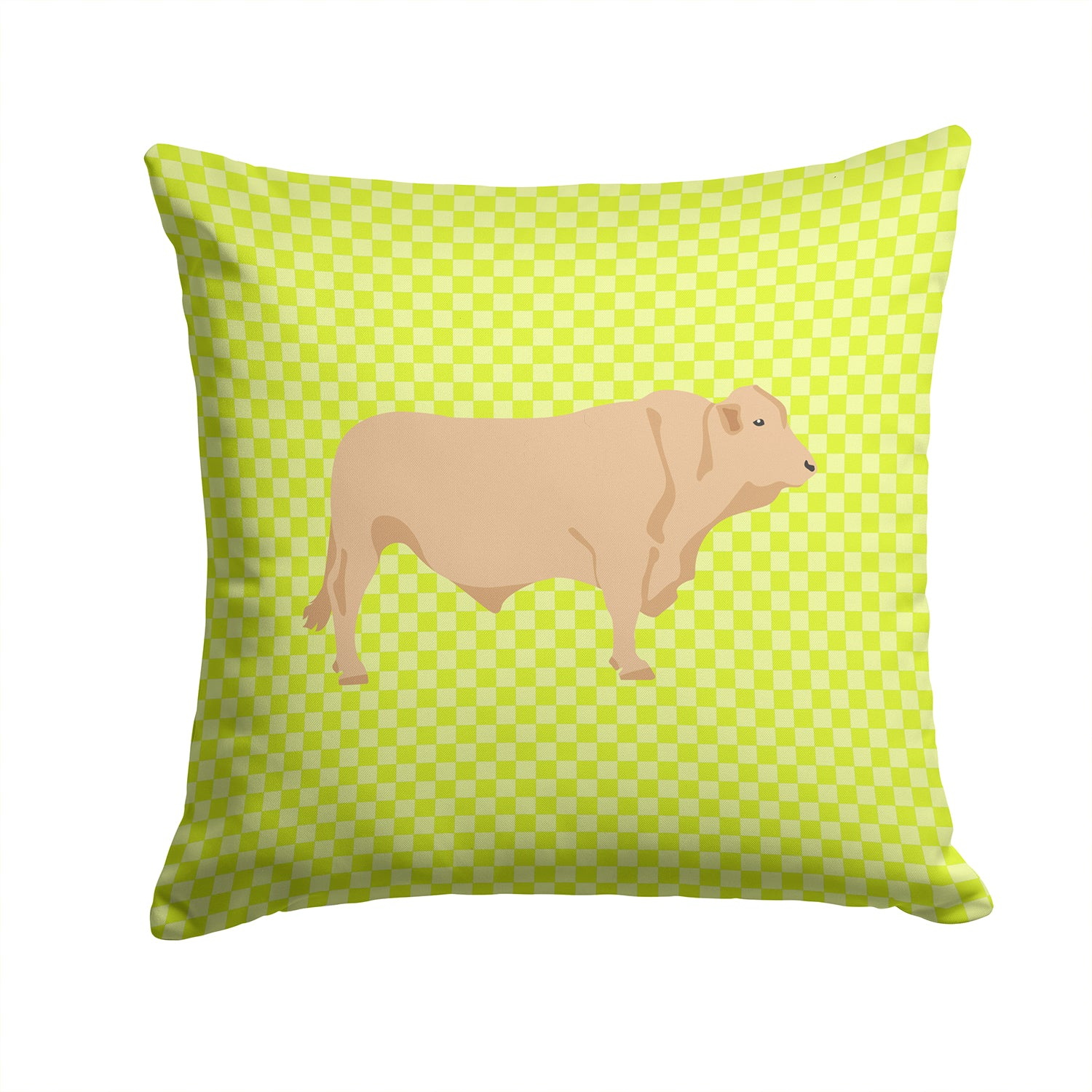Charolais Cow Green Fabric Decorative Pillow BB7652PW1414 by Caroline's Treasures