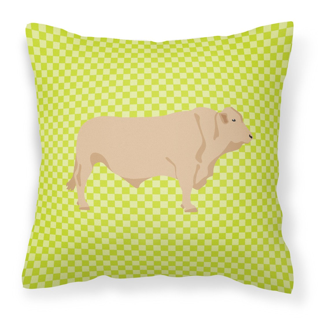 Charolais Cow Green Fabric Decorative Pillow BB7652PW1818 by Caroline's Treasures