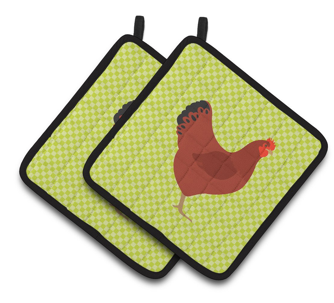 New Hampshire Red Chicken Green Pair of Pot Holders BB7669PTHD by Caroline's Treasures