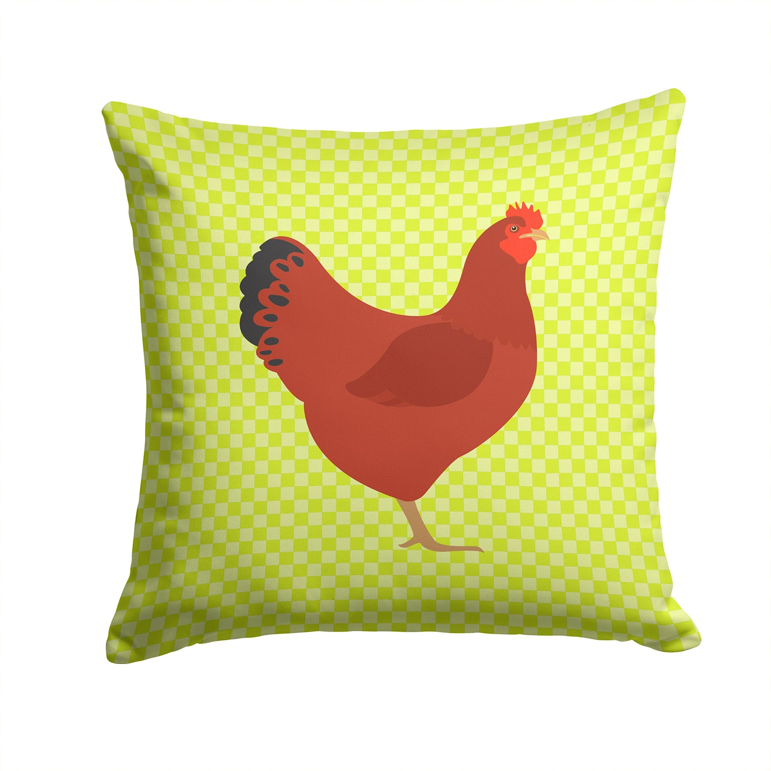 New Hampshire Red Chicken Green Fabric Decorative Pillow BB7669PW1414 by Caroline's Treasures
