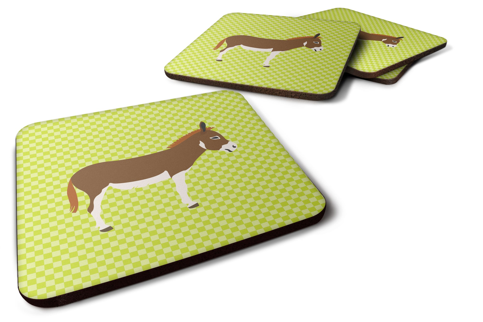 Miniature Mediterranian Donkey Green Foam Coaster Set of 4 BB7673FC by Caroline's Treasures
