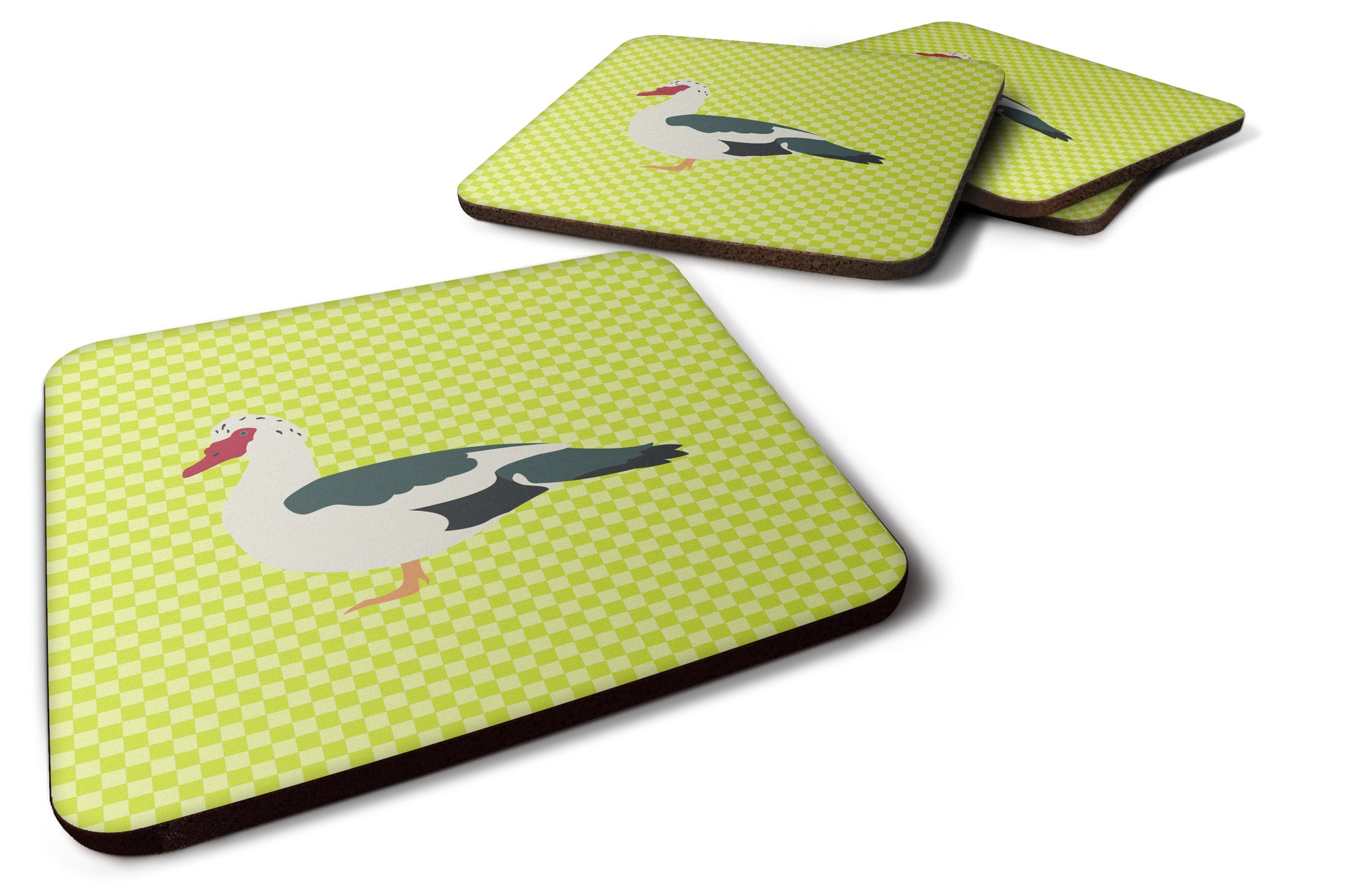 Muscovy Duck Green Foam Coaster Set of 4 BB7690FC by Caroline's Treasures