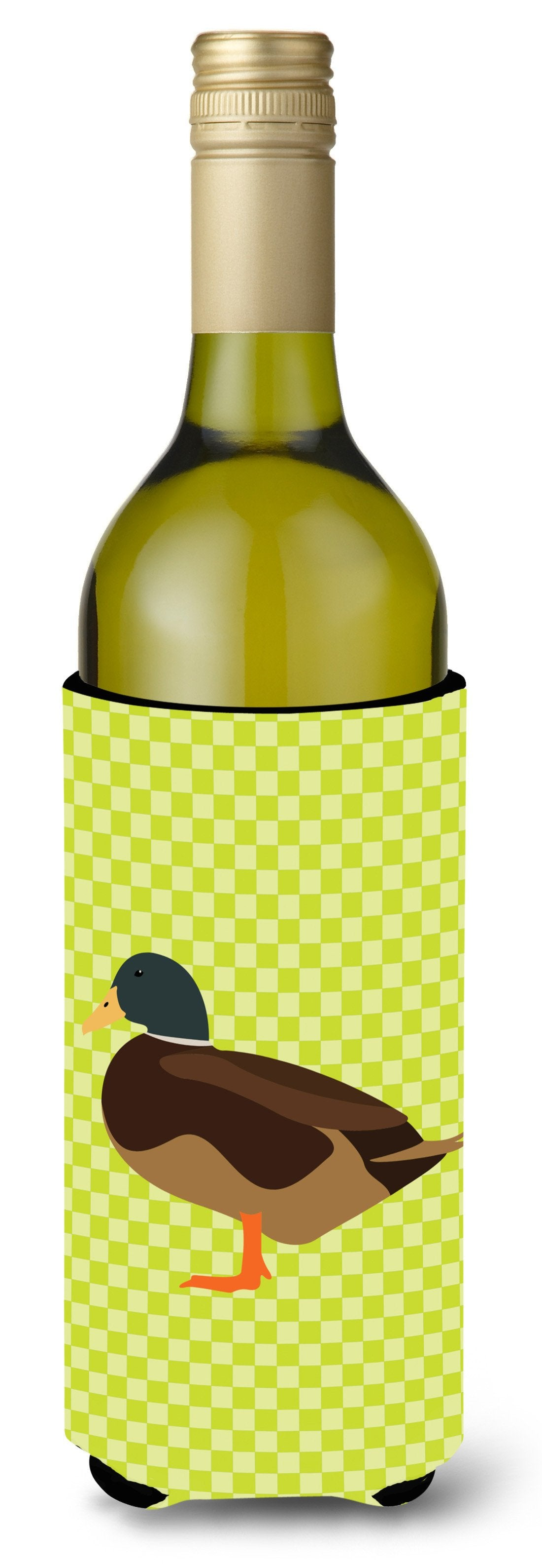 Silver Bantam Duck Green Wine Bottle Beverge Insulator Hugger BB7693LITERK by Caroline's Treasures