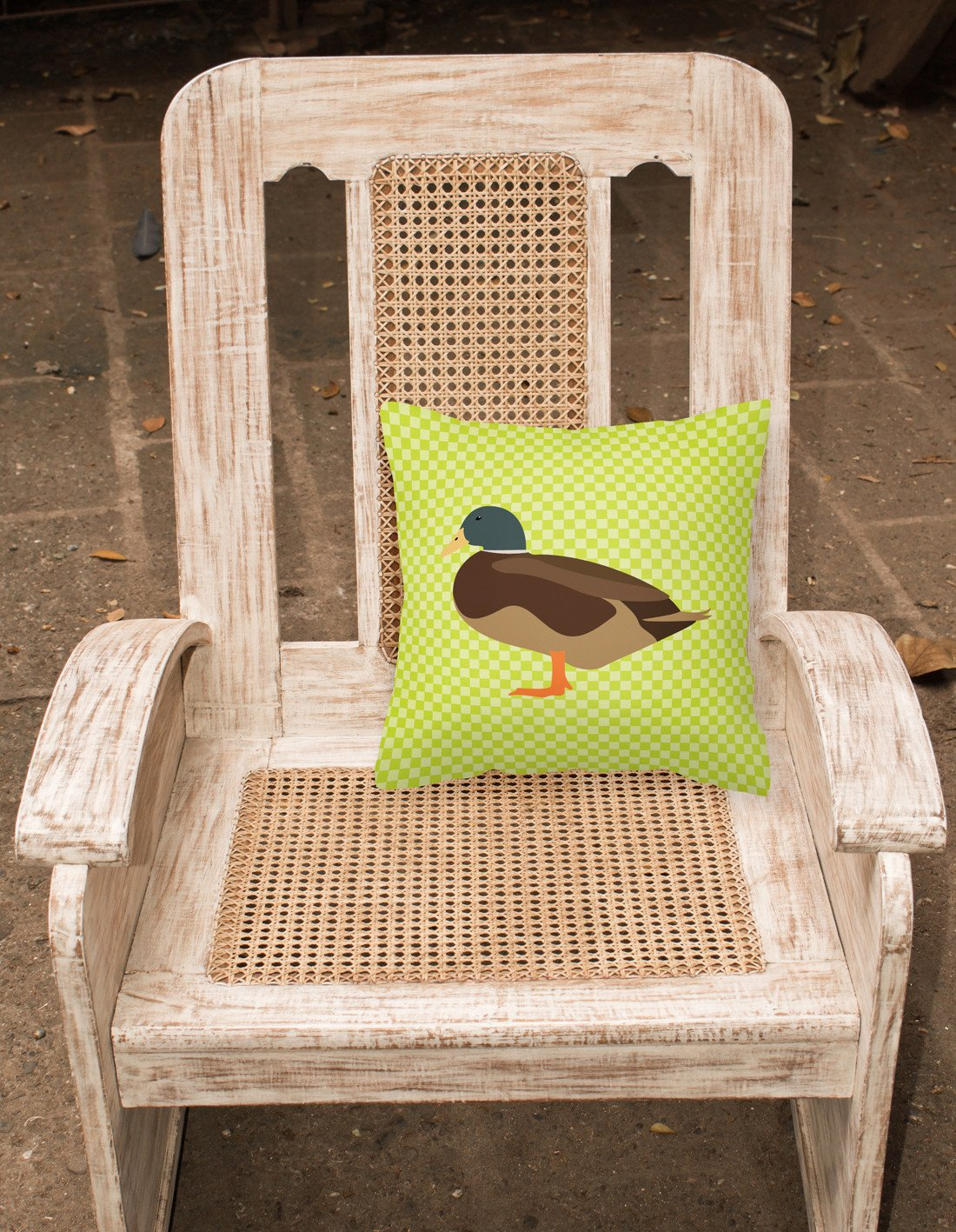 Silver Bantam Duck Green Fabric Decorative Pillow BB7693PW1818 by Caroline's Treasures