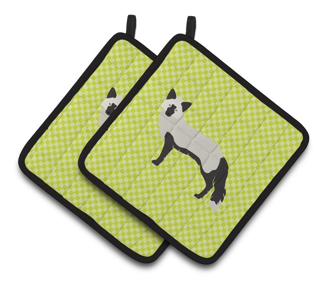 Silver Fox Green Pair of Pot Holders BB7697PTHD by Caroline's Treasures