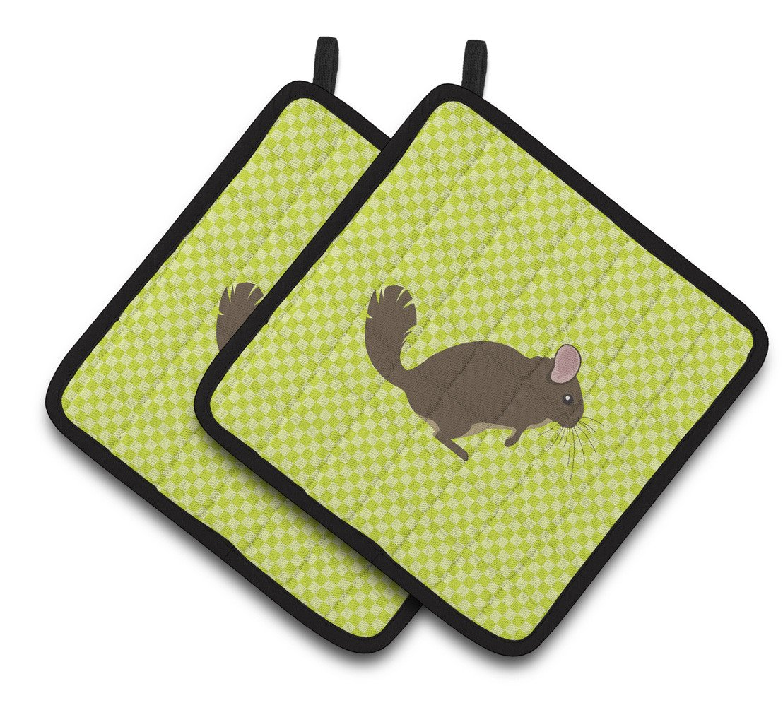 Chinchilla Green Pair of Pot Holders BB7701PTHD by Caroline's Treasures