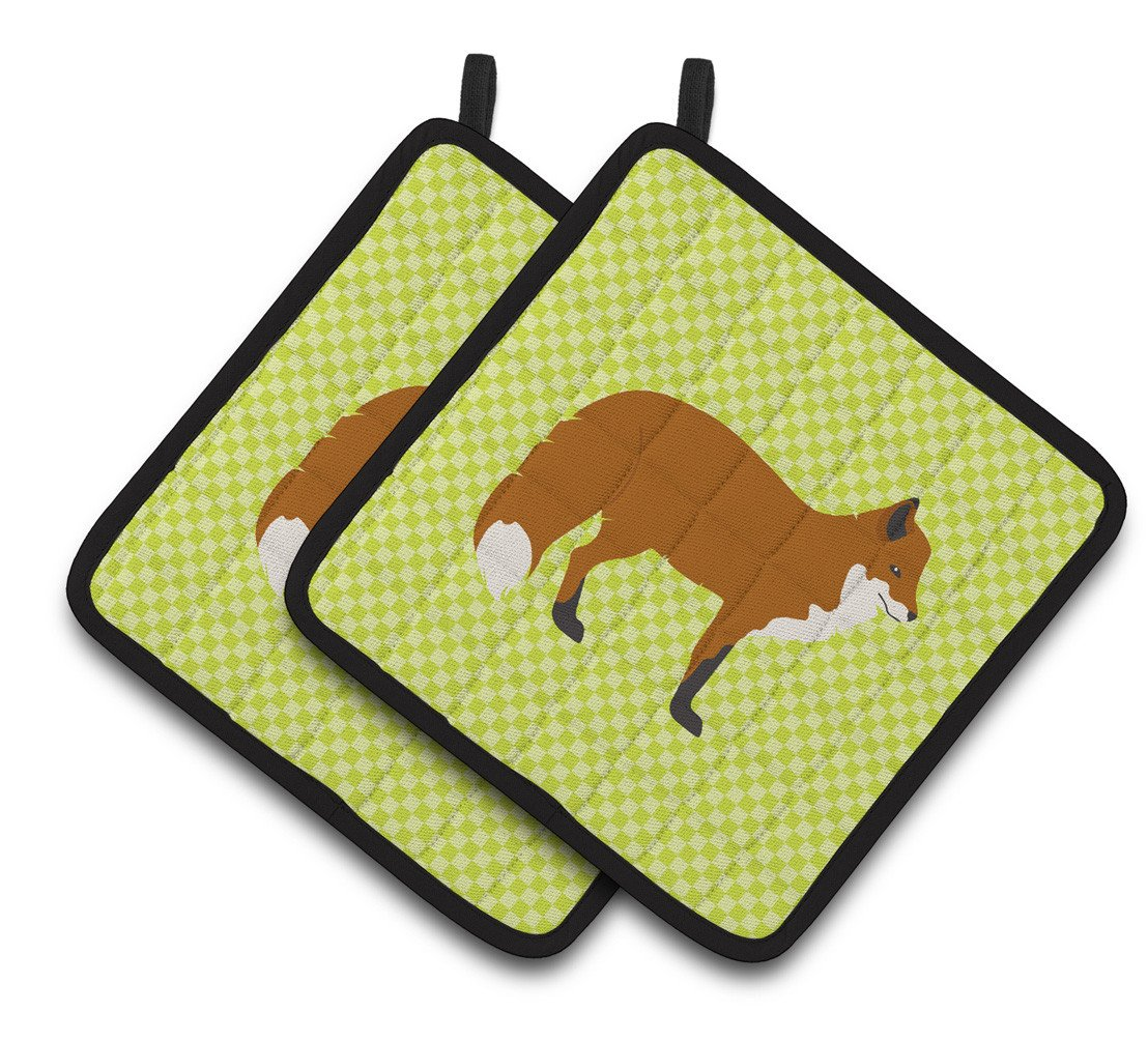 Red Fox Green Pair of Pot Holders BB7702PTHD by Caroline's Treasures