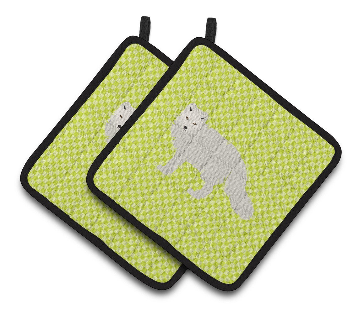 White Arctic Fox Green Pair of Pot Holders BB7703PTHD by Caroline's Treasures
