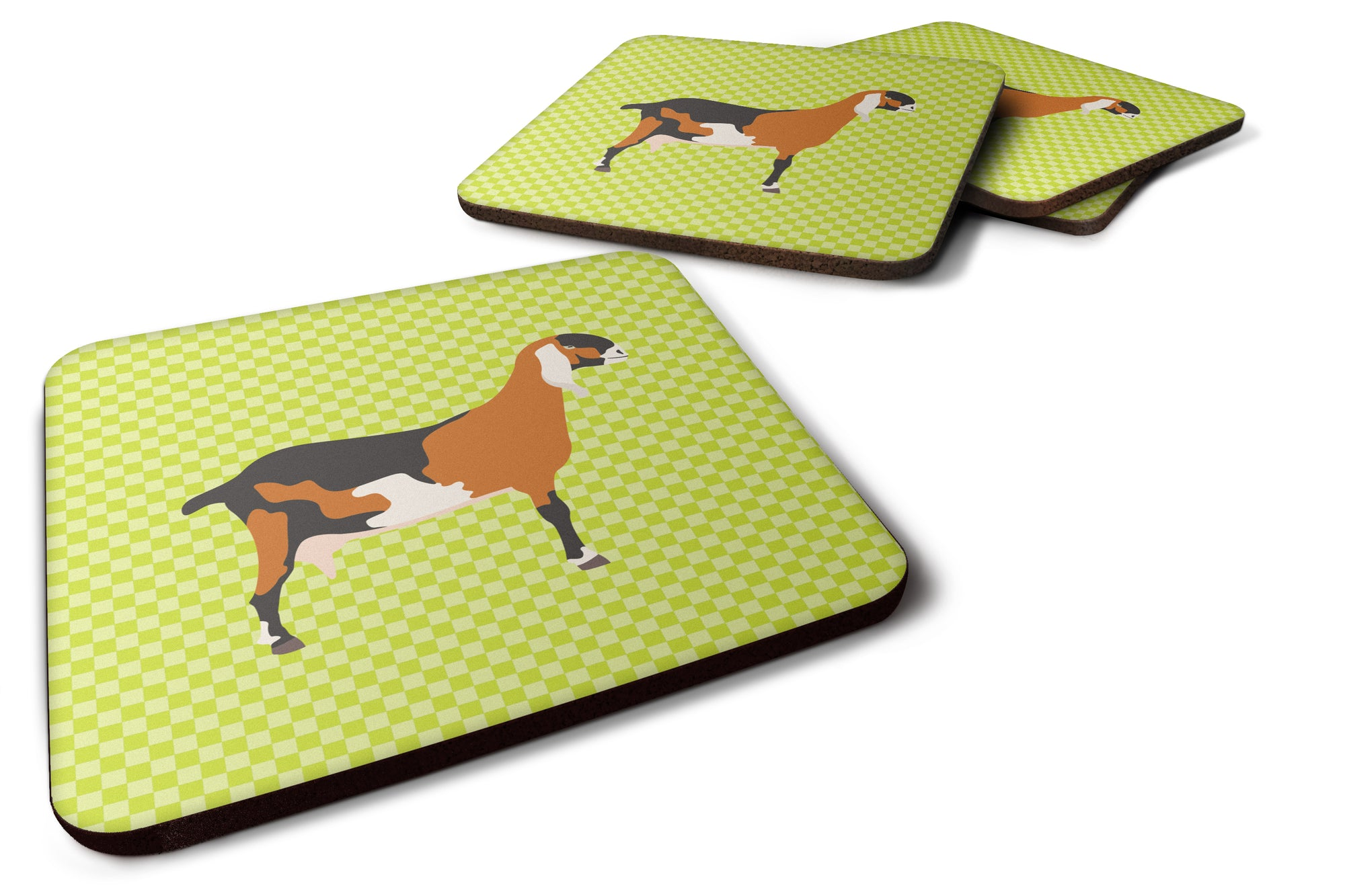 Anglo-nubian Nubian Goat Green Foam Coaster Set of 4 BB7709FC by Caroline's Treasures