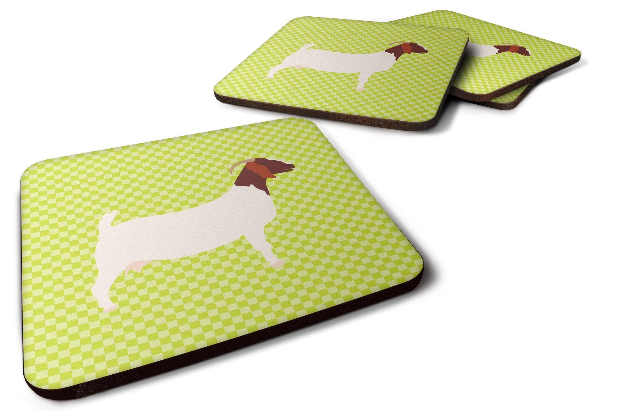 Boer Goat Green Foam Coaster Set of 4 BB7712FC by Caroline's Treasures