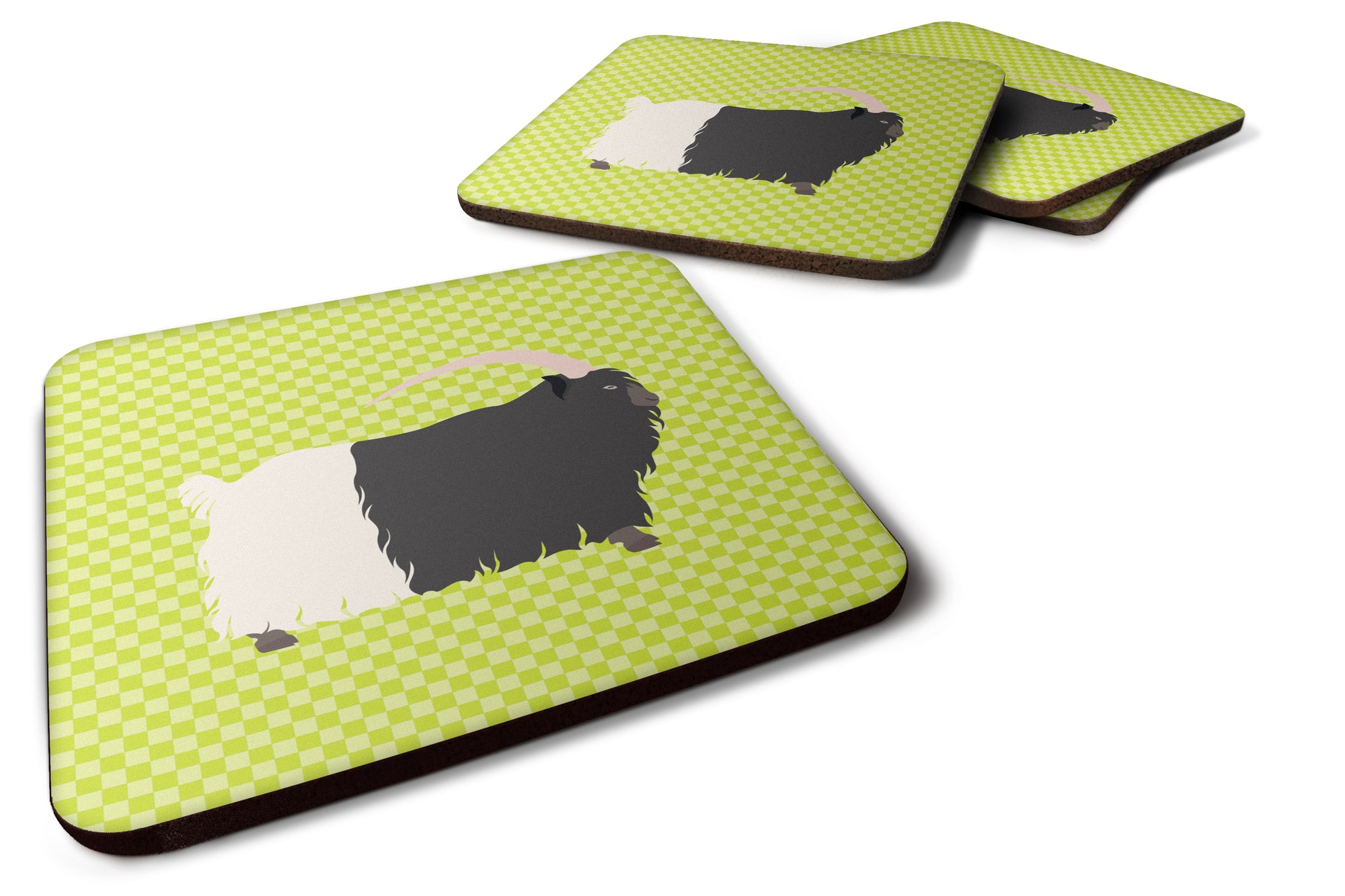 Welsh Black-Necked Goat Green Foam Coaster Set of 4 BB7713FC by Caroline's Treasures