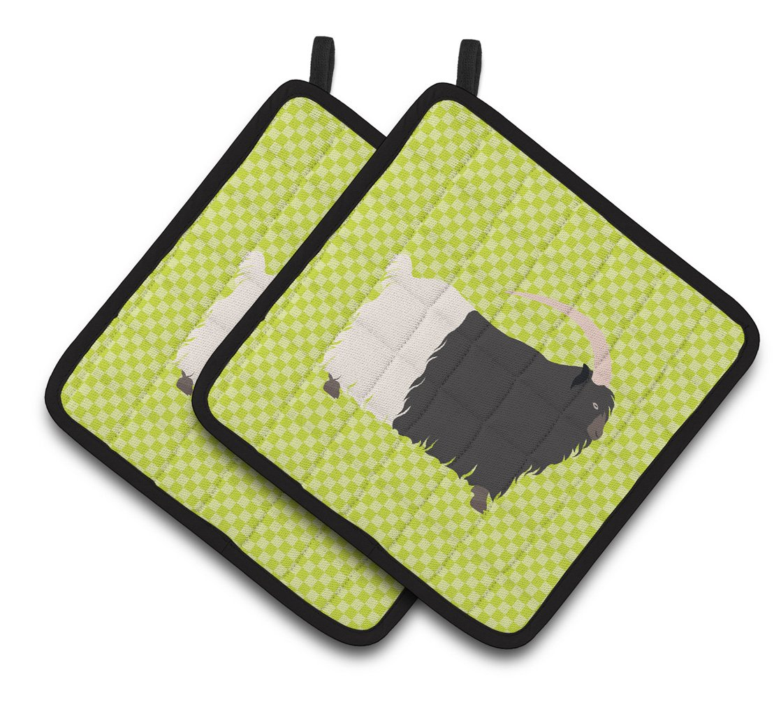 Buy this Welsh Black-Necked Goat Green Pair of Pot Holders