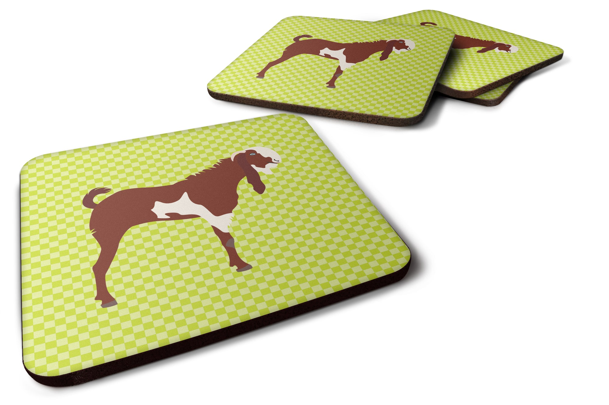 Jamnapari Goat Green Foam Coaster Set of 4 BB7716FC by Caroline's Treasures