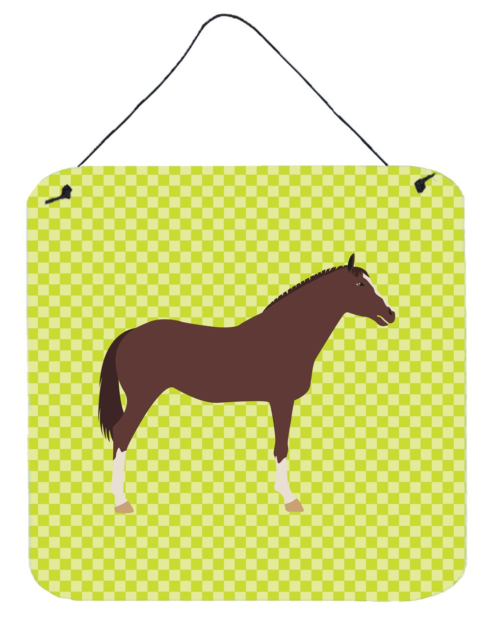 English Thoroughbred Horse Green Wall or Door Hanging Prints BB7739DS66 by Caroline's Treasures