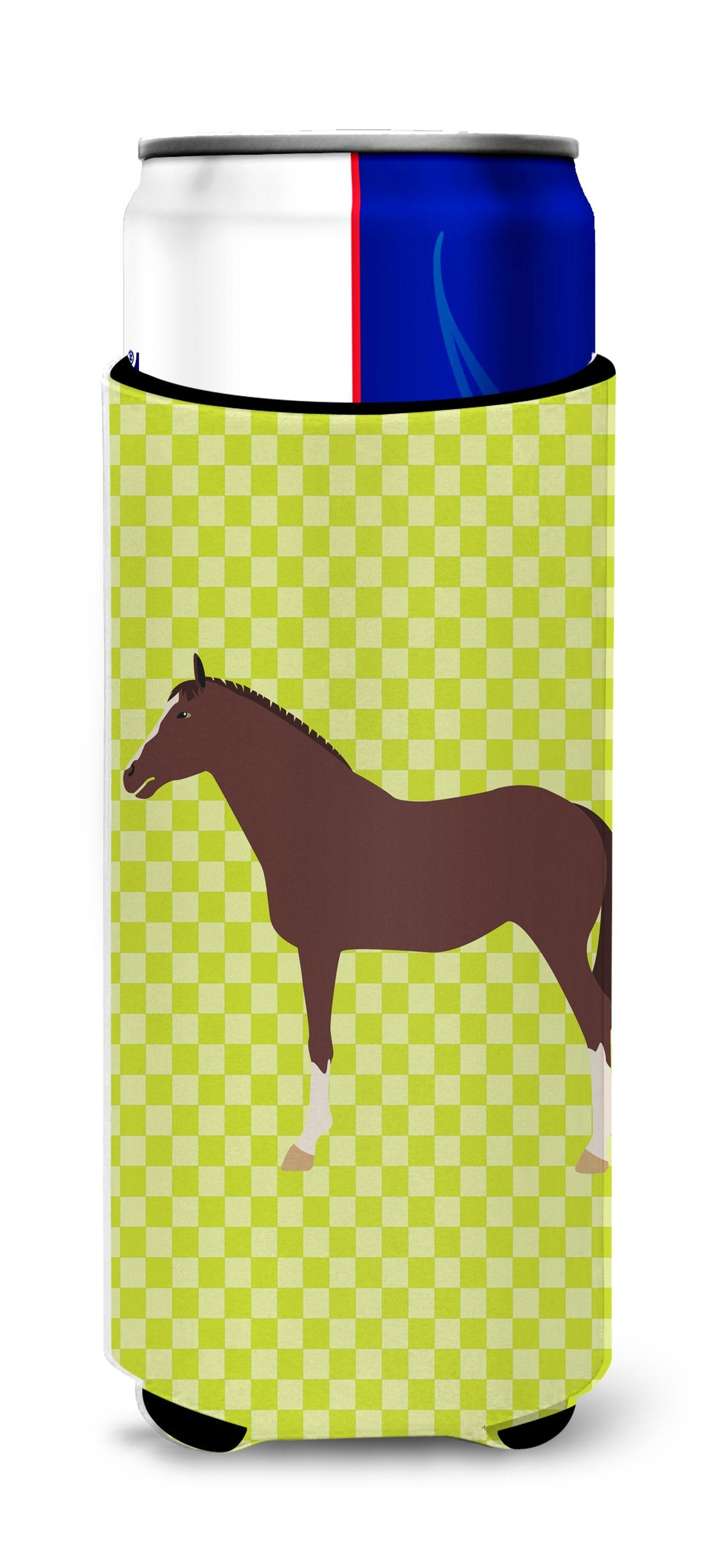English Thoroughbred Horse Green Michelob Ultra Hugger for slim cans by Caroline's Treasures