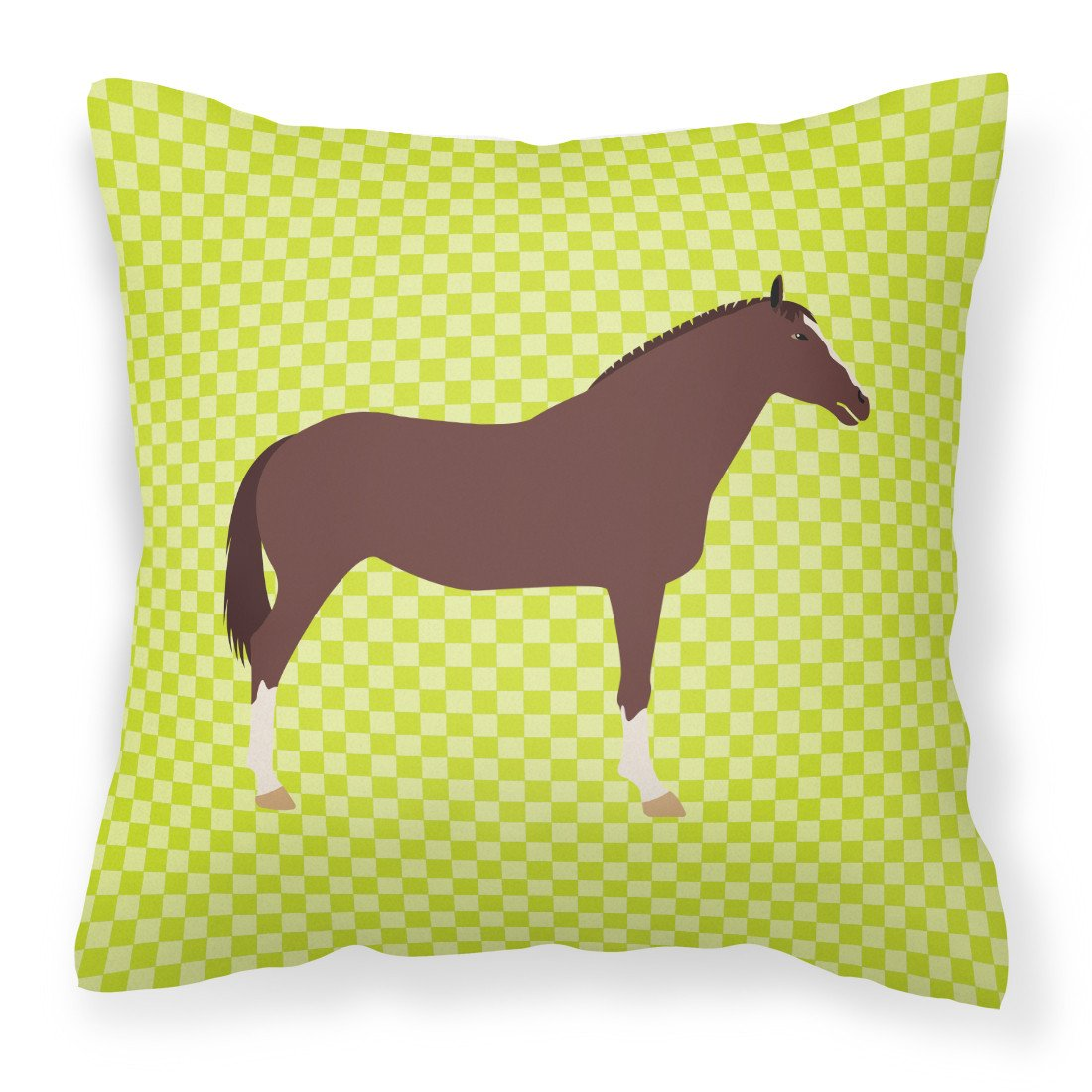 English Thoroughbred Horse Green Fabric Decorative Pillow BB7739PW1818 by Caroline's Treasures