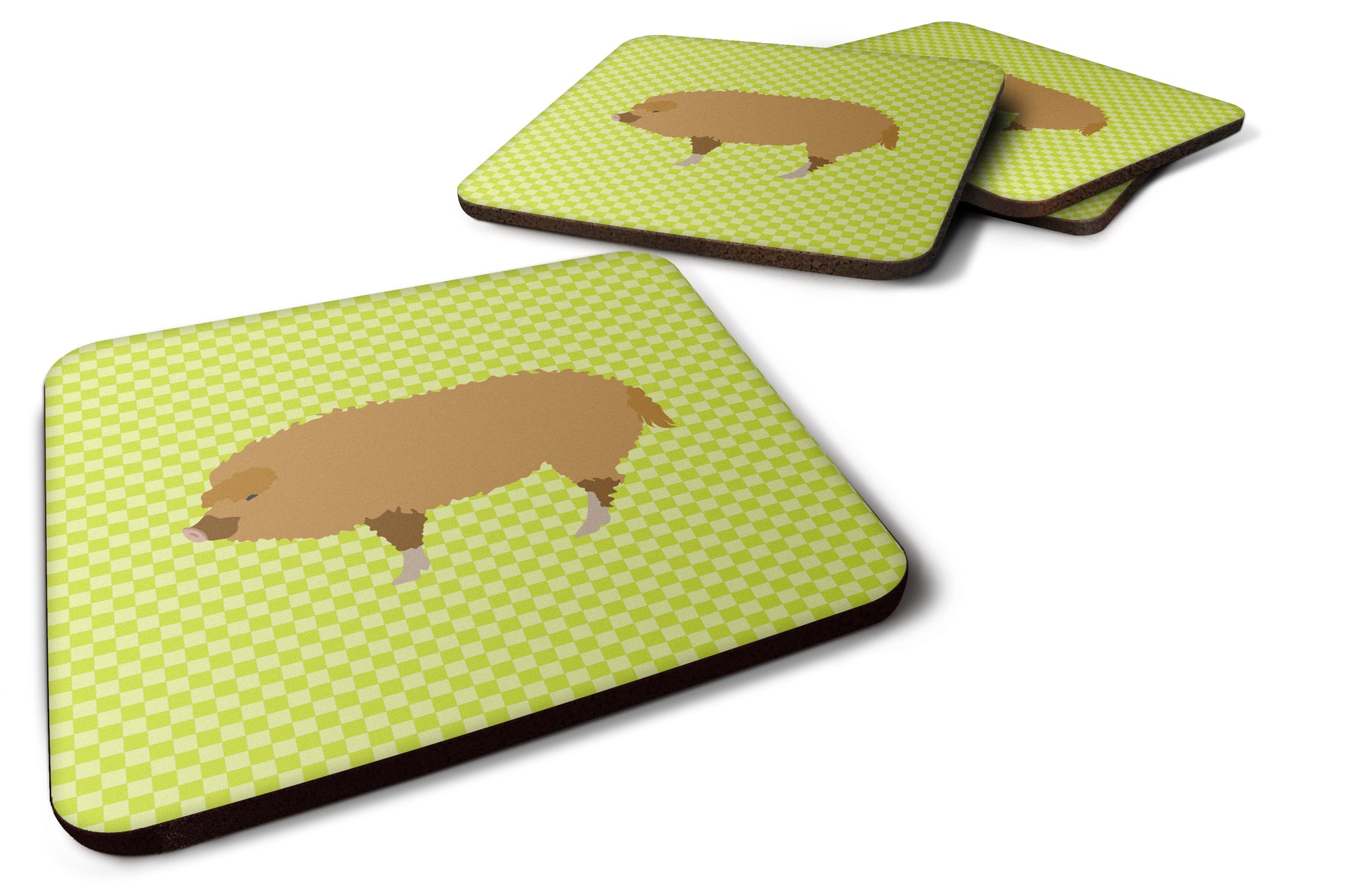 Hungarian Mangalica Pig Green Foam Coaster Set of 4 BB7760FC by Caroline's Treasures