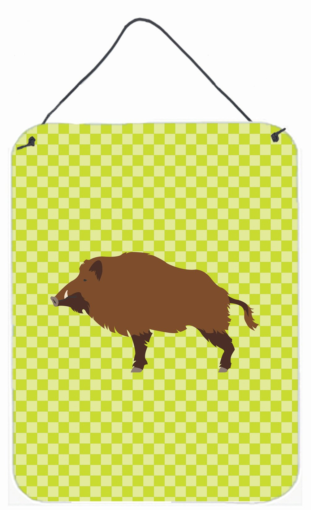 Wild Boar Pig Green Wall or Door Hanging Prints BB7762DS1216 by Caroline's Treasures