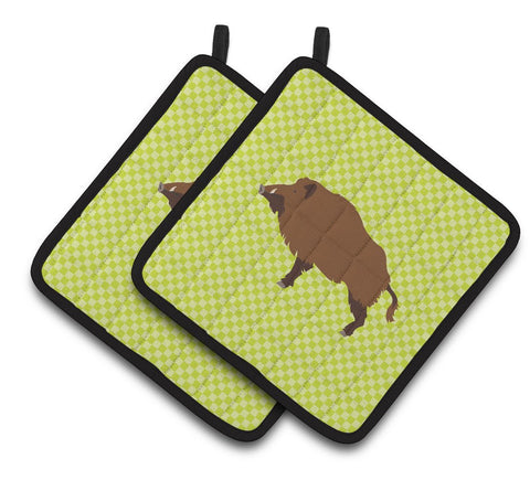 Buy this Wild Boar Pig Green Pair of Pot Holders BB7762PTHD