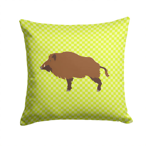 Buy this Wild Boar Pig Green Fabric Decorative Pillow BB7762PW1414