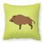 Wild Boar Pig Green Fabric Decorative Pillow BB7762PW1818 by Caroline's Treasures
