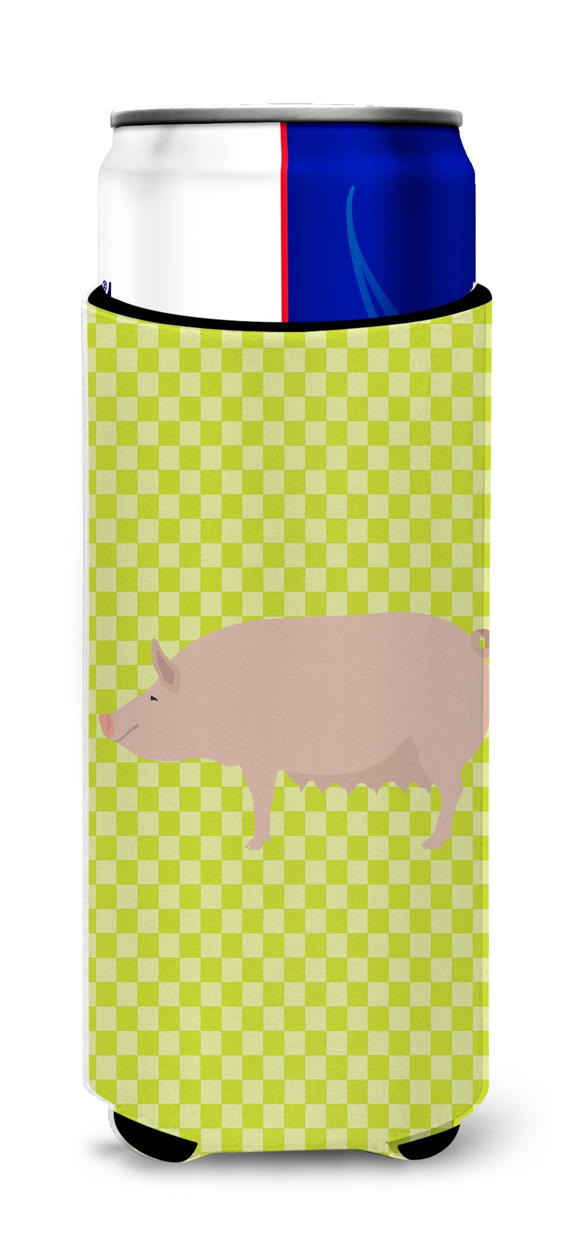 English Large White Pig Green Michelob Ultra Hugger for slim cans by Caroline's Treasures