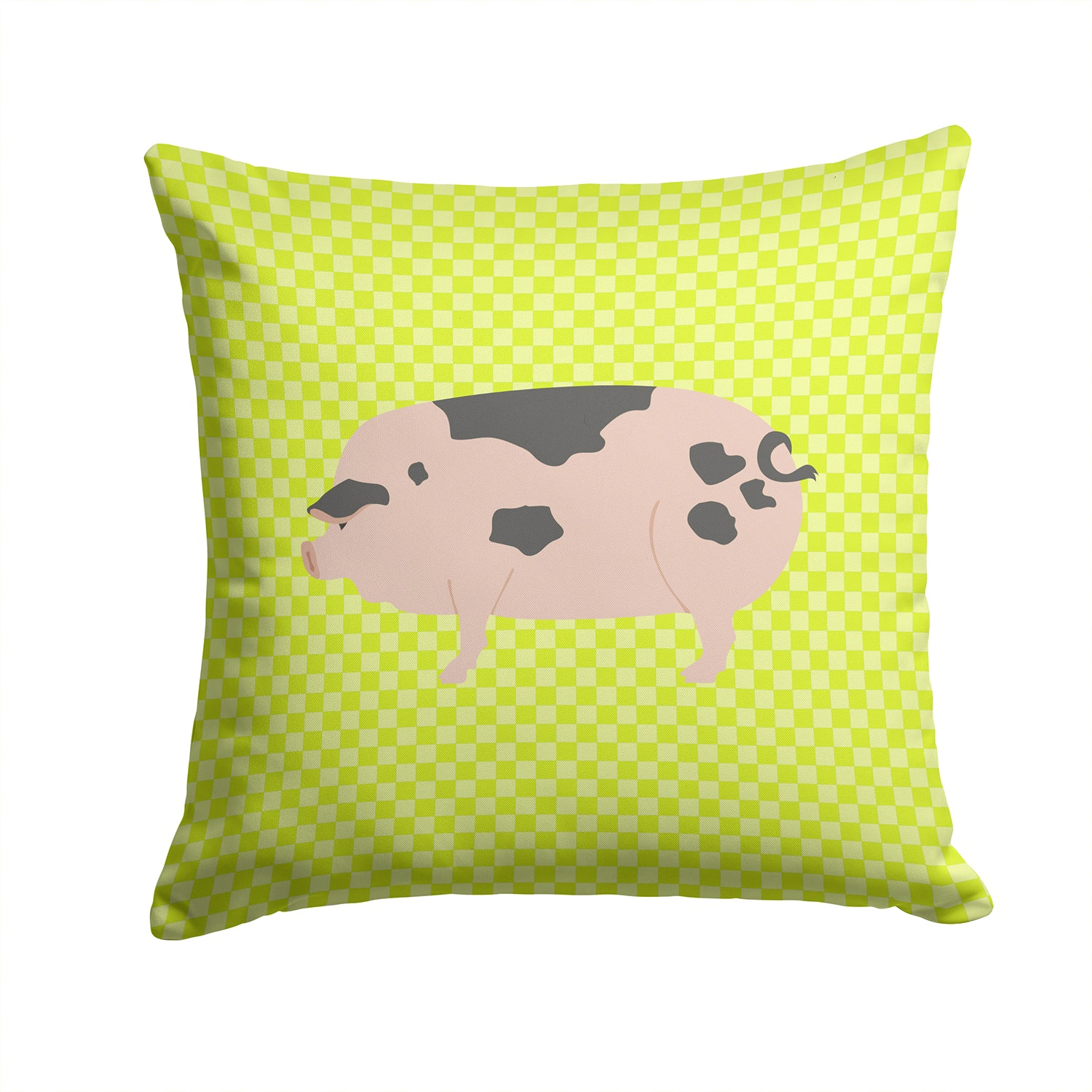 Gloucester Old Spot Pig Green Fabric Decorative Pillow BB7766PW1414 by Caroline's Treasures