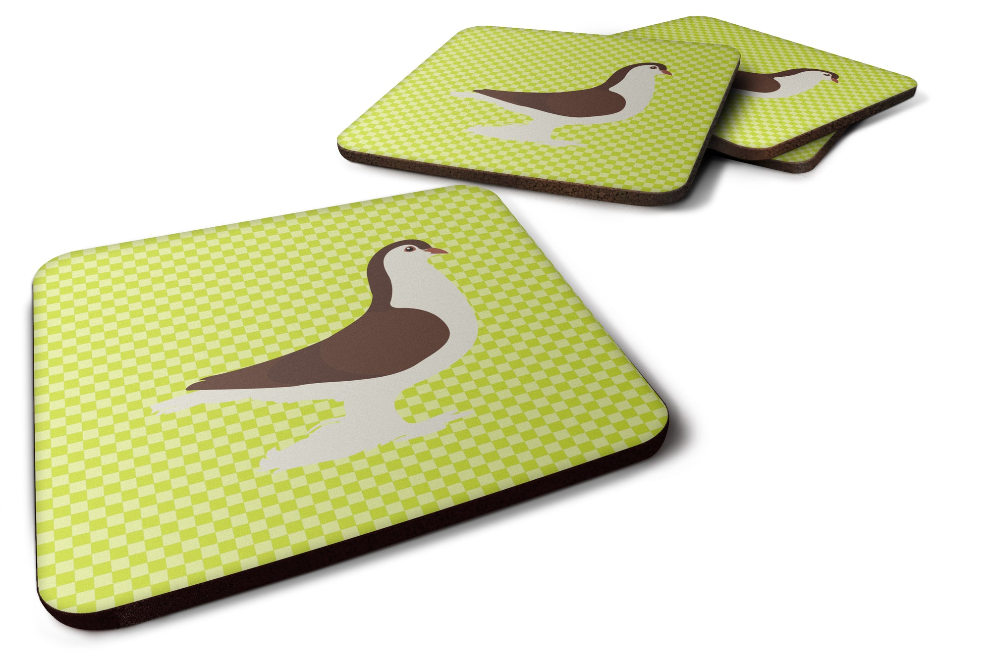 Large Pigeon Green Foam Coaster Set of 4 BB7769FC by Caroline's Treasures