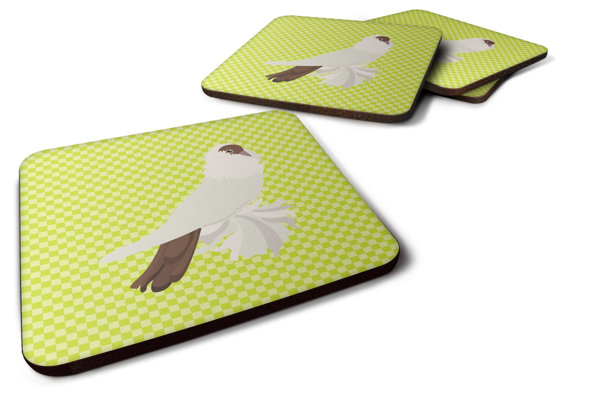 German Helmet Pigeon Green Foam Coaster Set of 4 BB7770FC by Caroline's Treasures
