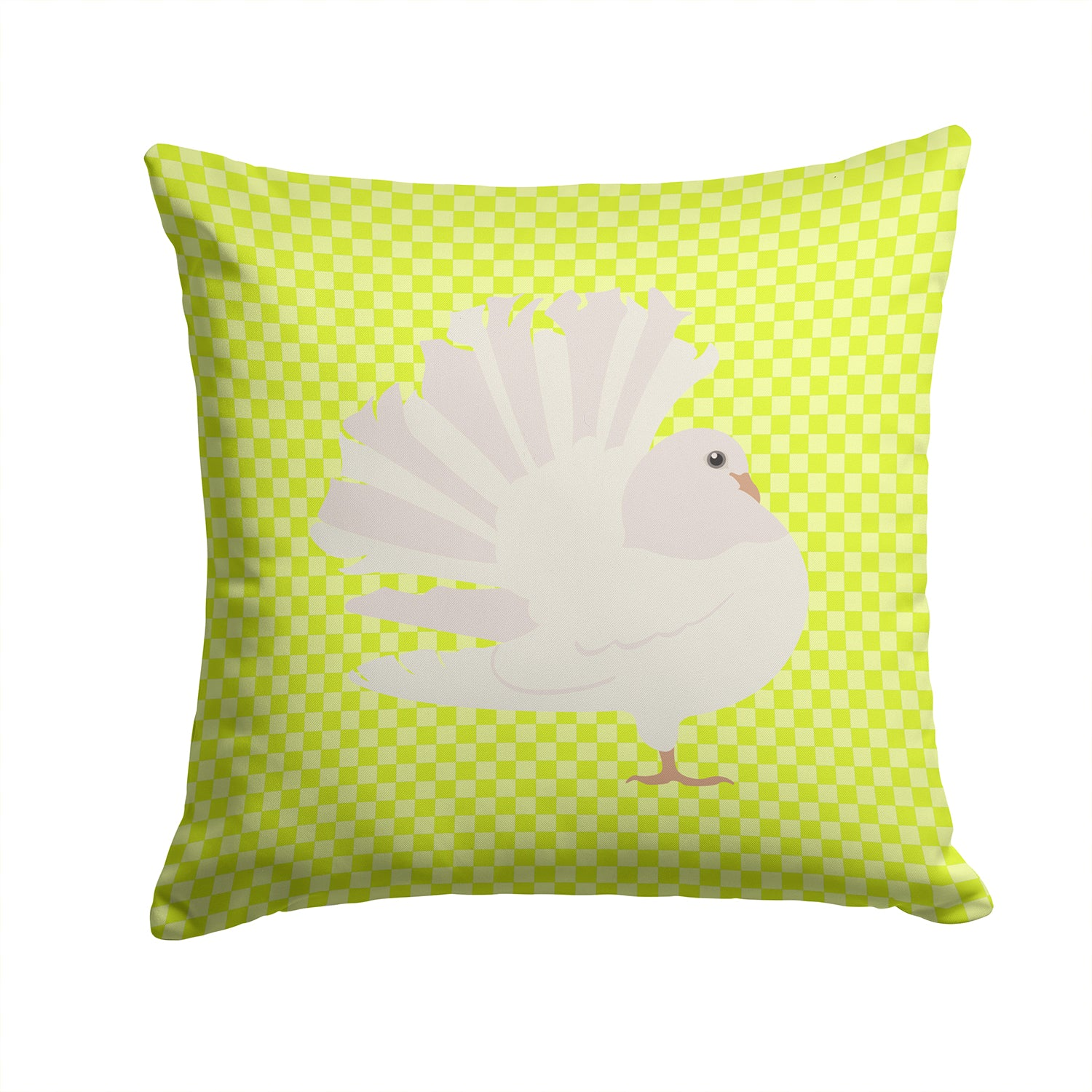 Buy this Silver Fantail Pigeon Green Fabric Decorative Pillow BB7776PW1414