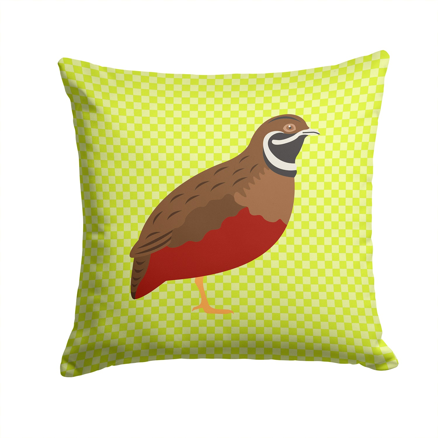 Buy this Chinese Painted or King Quail Green Fabric Decorative Pillow BB7782PW1414