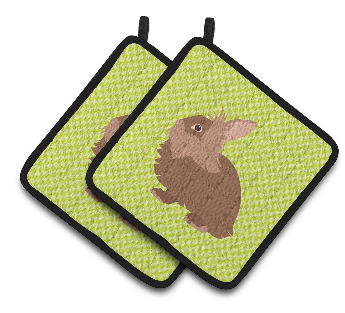 Lionhead Rabbit Green Pair of Pot Holders BB7786PTHD by Caroline's Treasures