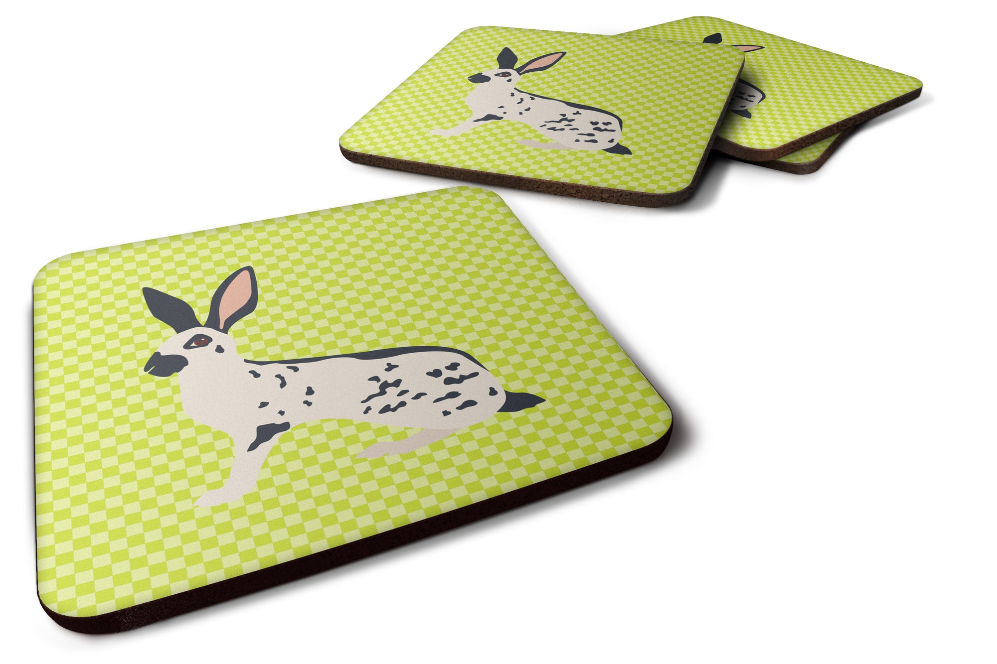 English Spot Rabbit Green Foam Coaster Set of 4 BB7787FC by Caroline's Treasures