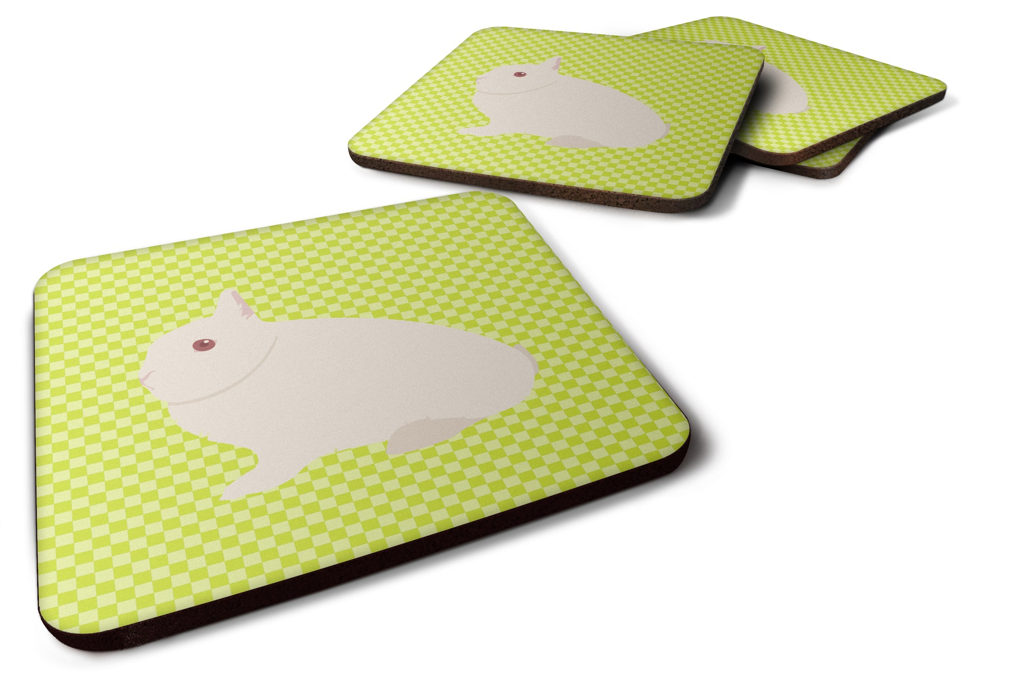 Hermelin Rabbit Green Foam Coaster Set of 4 BB7790FC by Caroline's Treasures