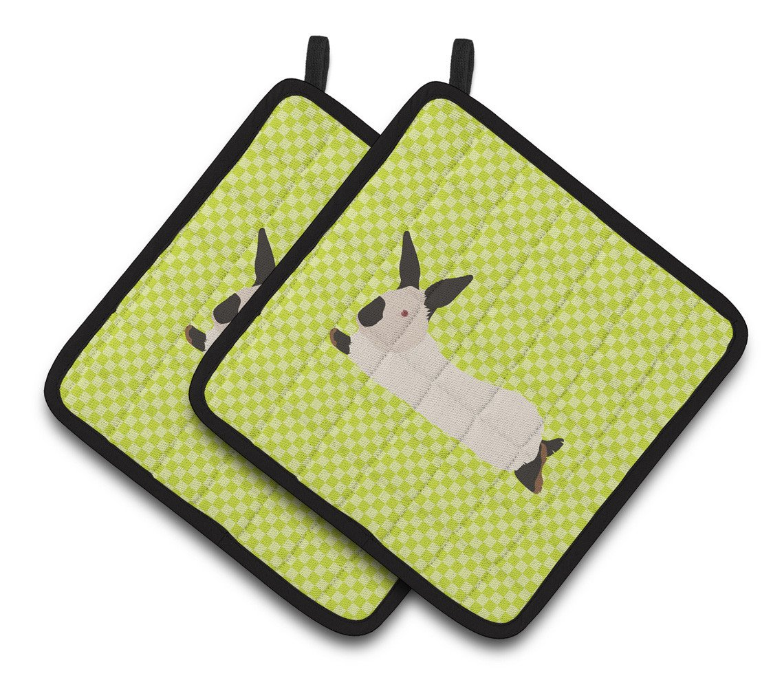 California White Rabbit Green Pair of Pot Holders BB7793PTHD by Caroline's Treasures