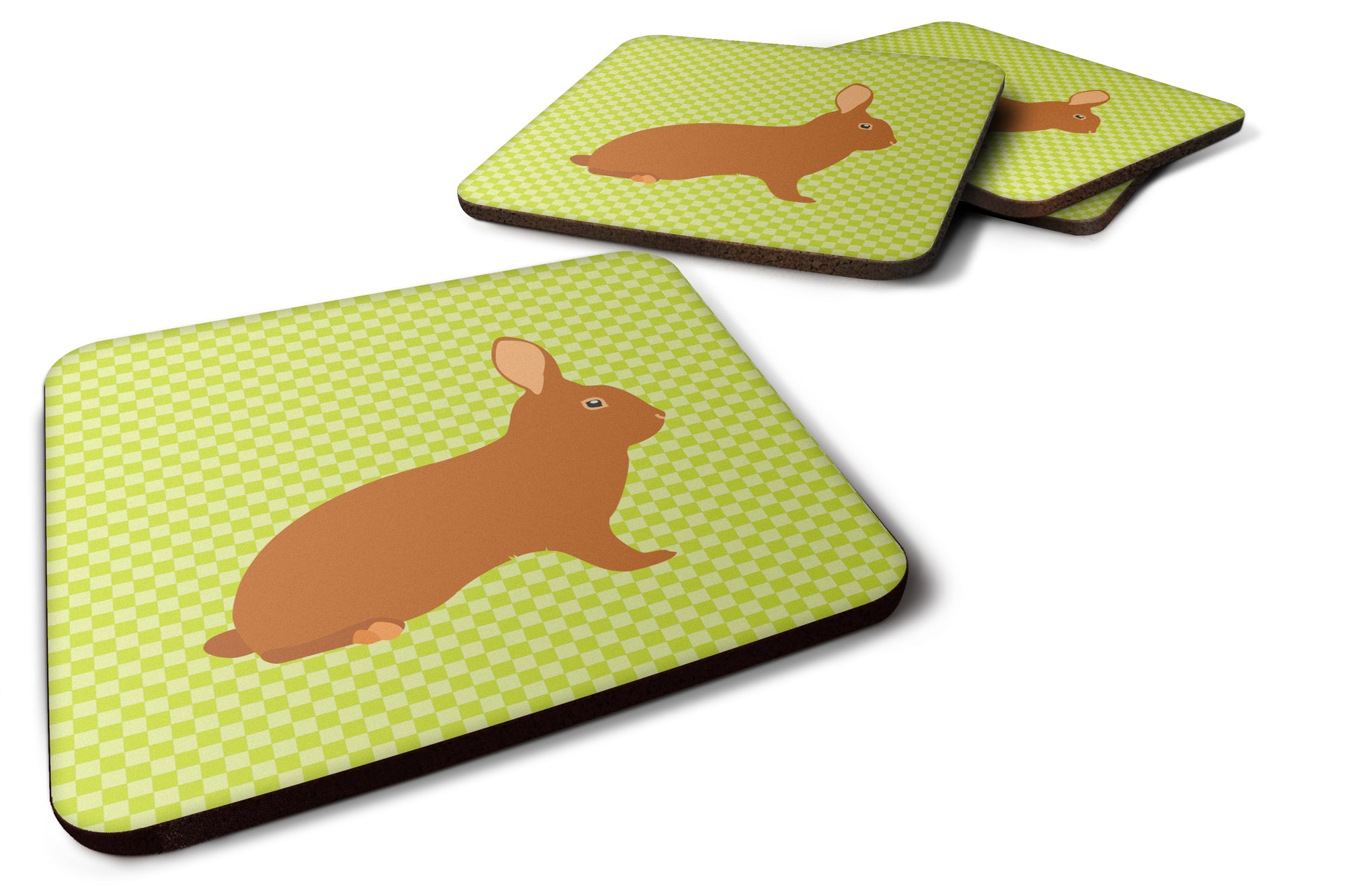 Rex Rabbit Green Foam Coaster Set of 4 BB7795FC by Caroline's Treasures