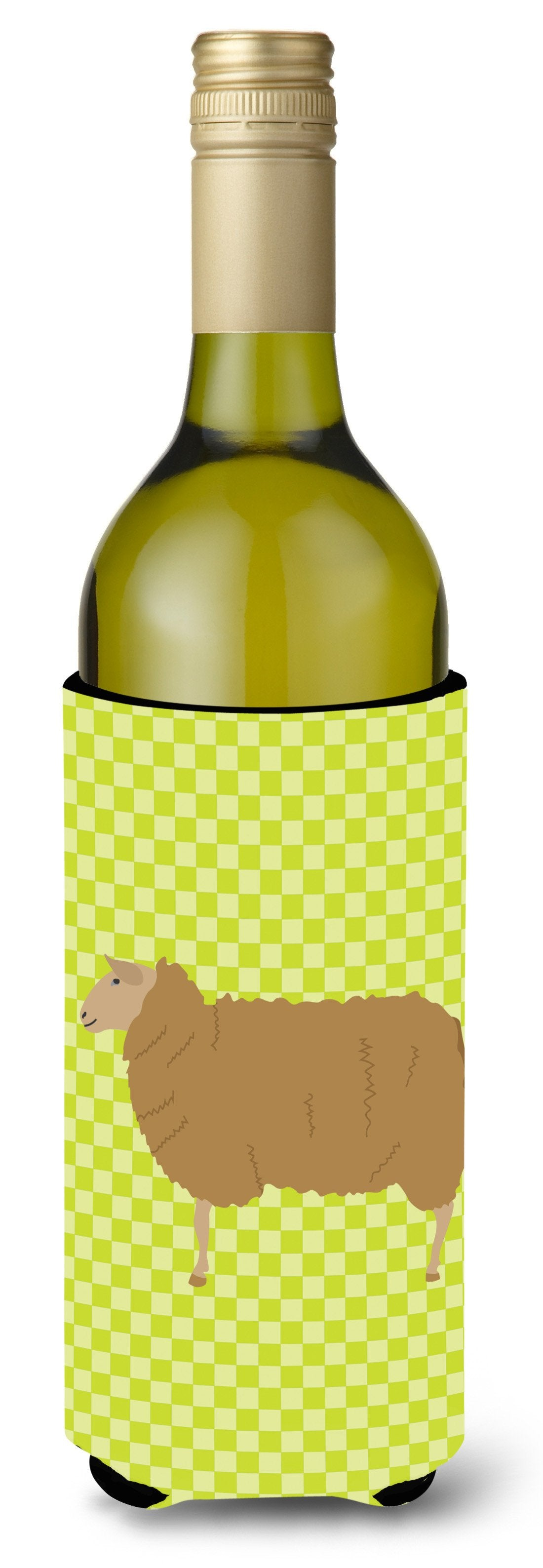 East Friesian Sheep Green Wine Bottle Beverge Insulator Hugger BB7803LITERK by Caroline's Treasures